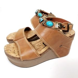 OTBT Layover Turquoise Wedge Sandals Size 8